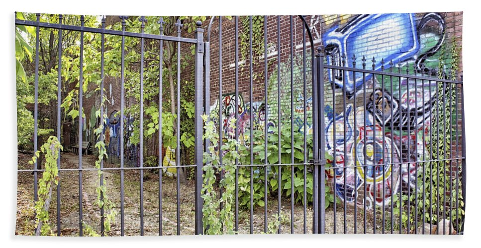 Graffiti Bath Sheet featuring the photograph Beyond The Gate by Jason Politte