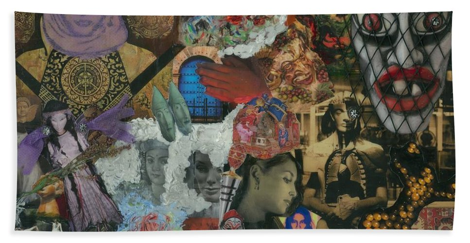 Women Hand Towel featuring the mixed media Beyond The Mask by Paula Emery