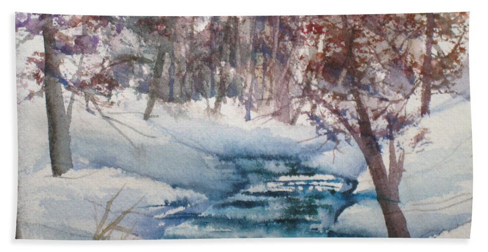 Creek Bath Sheet featuring the painting Beyond The Pond by Mohamed Hirji