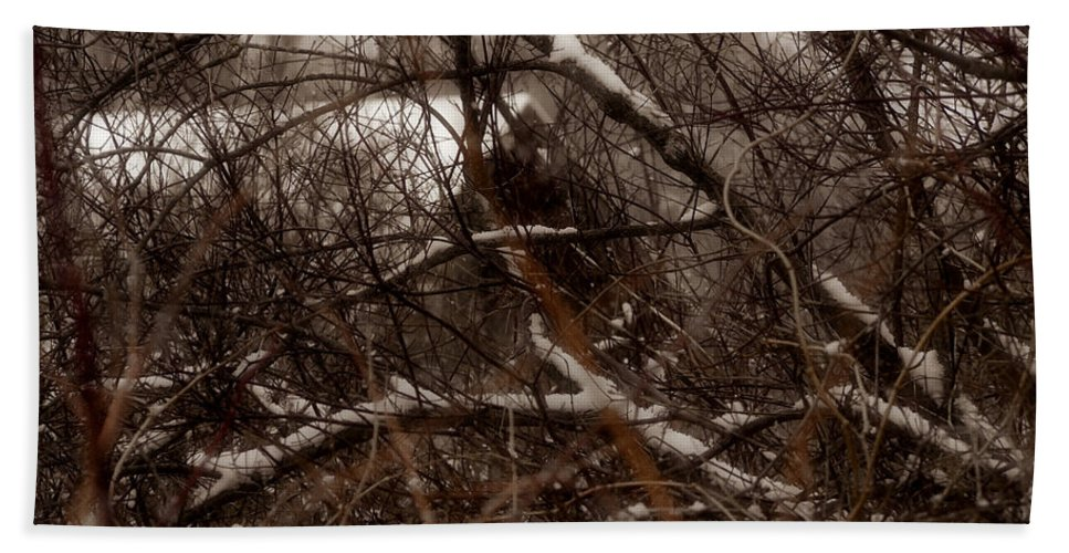 Old Building Hand Towel featuring the photograph Beyond The Thicket - Abandoned by Angie Rea