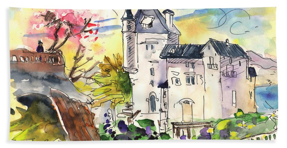 Travel Hand Towel featuring the painting Biarritz 01 by Miki De Goodaboom