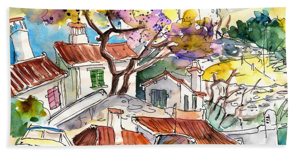Travel Bath Sheet featuring the painting Biarritz 10 by Miki De Goodaboom
