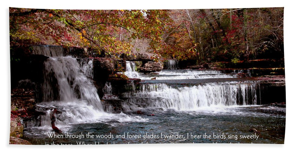 Bible Verse Greeting Cards Hand Towel featuring the photograph Bible Verse And Inspirational Greeting Card Autumn Fine Art Photography Prints And Posters. by Jerry Cowart