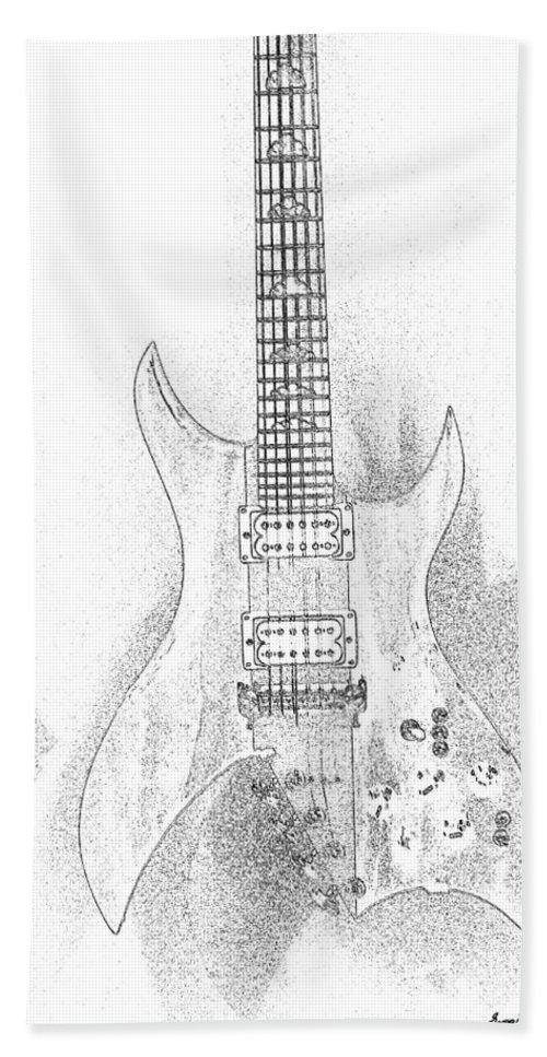 Guitar Bath Sheet featuring the digital art Bich Electric Guitar Sketch by Georgianne Giese