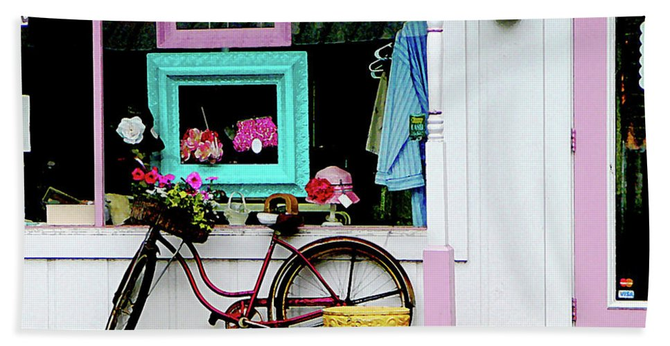 Bicycle Bath Sheet featuring the photograph Bicycle By Antique Shop by Susan Savad
