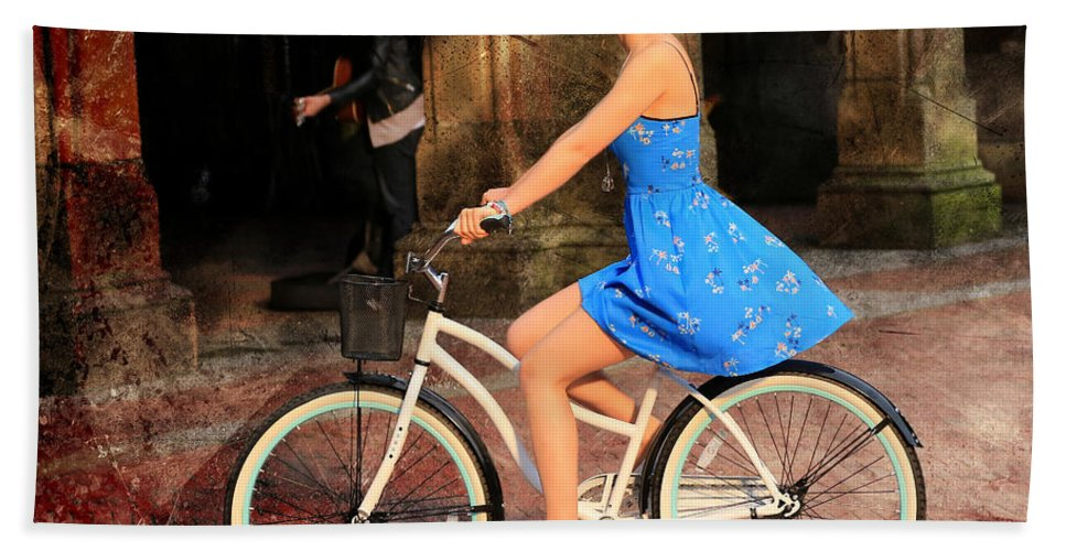 Bike Hand Towel featuring the photograph Bicycle Girl 1c by Andrew Fare