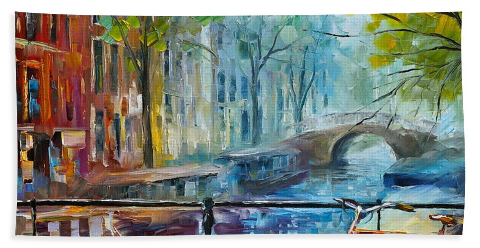 Amsterdam Hand Towel featuring the painting Bicycle In Amsterdam by Leonid Afremov