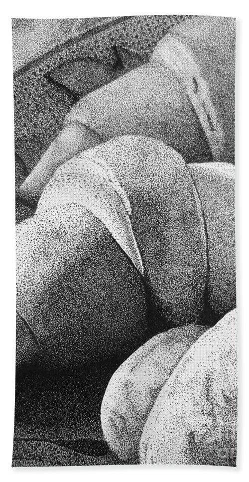 Bien Manger Bath Sheet featuring the drawing Bien Manger #1 by Robert ONeil