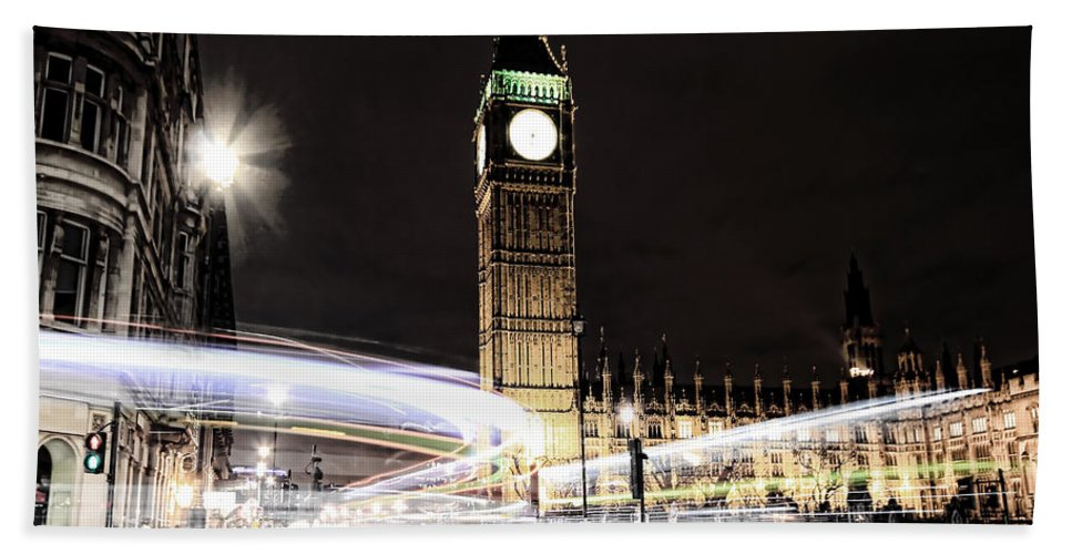Big Ben Hand Towel featuring the photograph Big Ben With Light Trails by Jasna Buncic