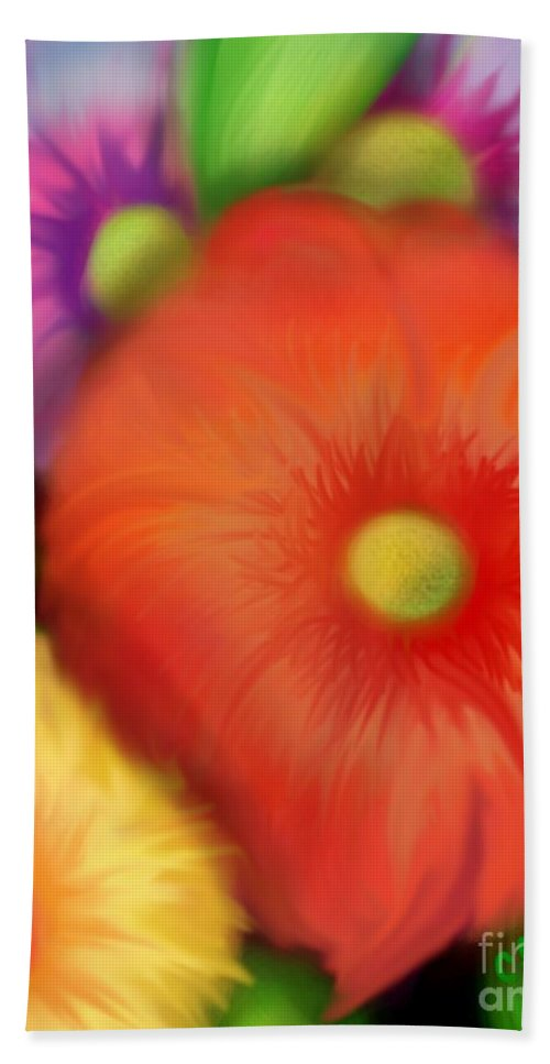 Floral Hand Towel featuring the digital art Big Blooms by Christine Fournier