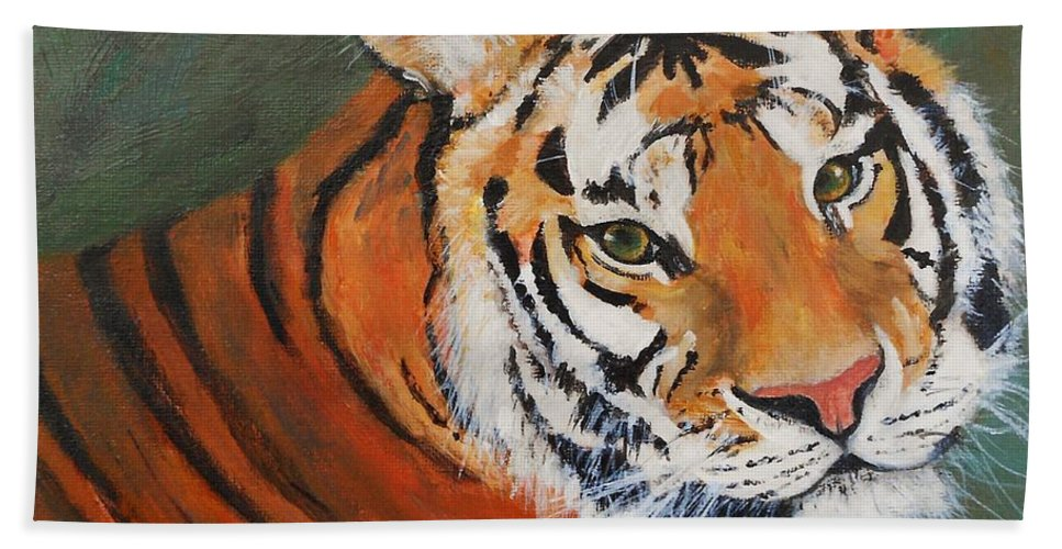 Tiger Bath Sheet featuring the painting Big Cat by Jamie Frier