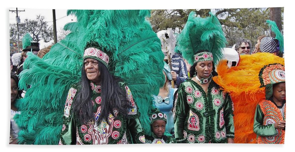 Big Chief Hand Towel featuring the photograph Big Chief Monk Boudreaux by William Morgan