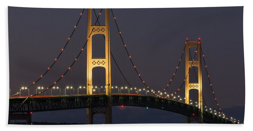 Night Hand Towel featuring the photograph Big Mackinac Bridge 55 by John Brueske