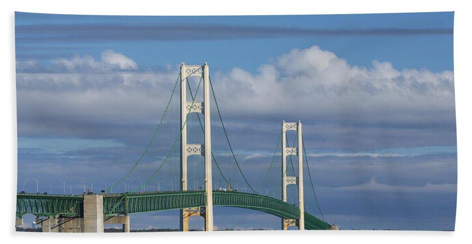 Bridge Hand Towel featuring the photograph Big Mackinac Bridge 59 by John Brueske