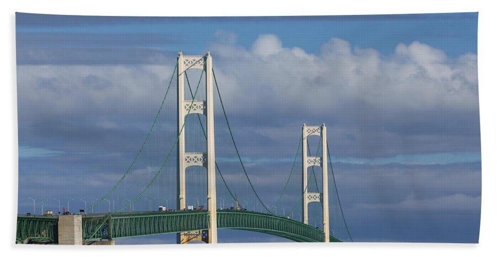 Bridge Hand Towel featuring the photograph Big Mackinac Bridge 61 by John Brueske