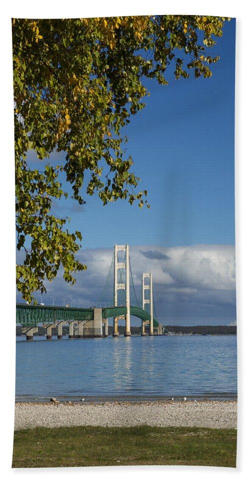 Bridge Hand Towel featuring the photograph Big Mackinac Bridge 68 by John Brueske