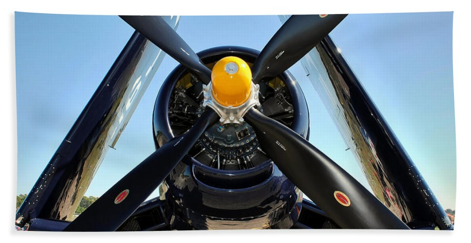 F4u Hand Towel featuring the photograph Big Prop by David Hart