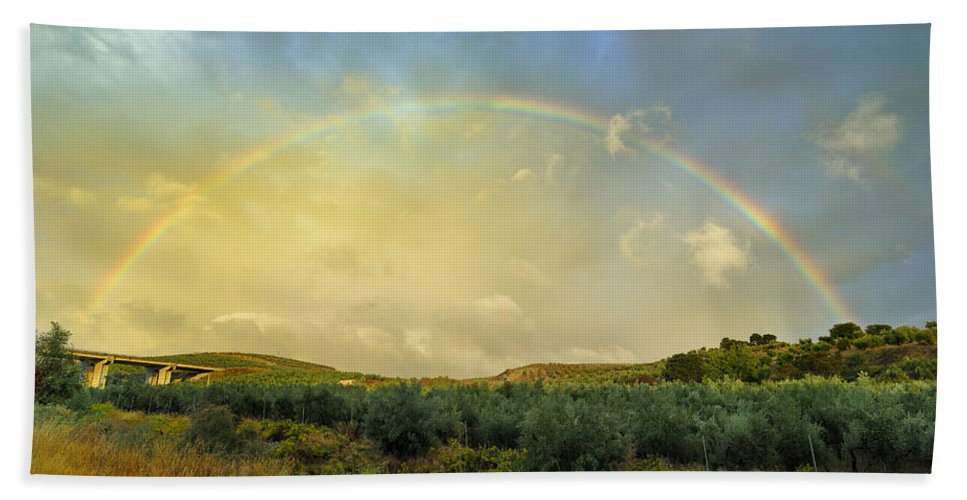 Rainbow Hand Towel featuring the photograph Big Rainbow by Guido Montanes Castillo