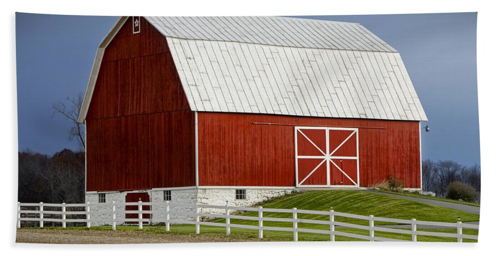 Art Hand Towel featuring the photograph Big Red Barn In West Michigan by Randall Nyhof