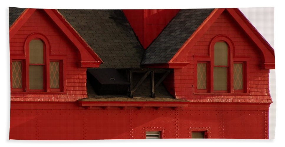 Windows Bath Sheet featuring the photograph Big Red Holland Harbor Light Michigan by Michelle Calkins