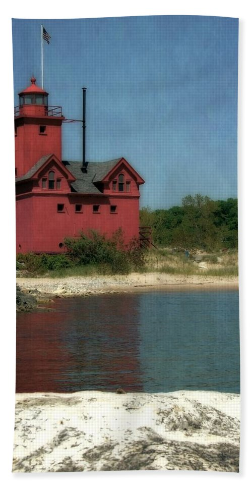 Michigan Hand Towel featuring the photograph Big Red Holland Michigan Lighthouse by Michelle Calkins