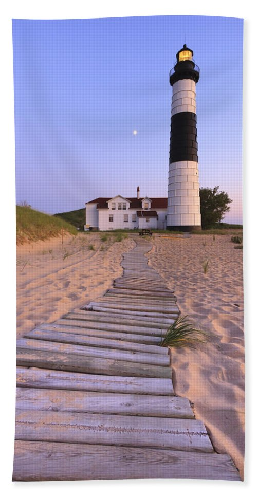 3scape Photos Bath Towel featuring the photograph Big Sable Point Lighthouse by Adam Romanowicz