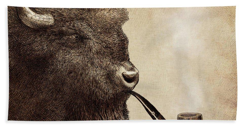 Buffalo Bath Towel featuring the drawing Big Smoke by Eric Fan