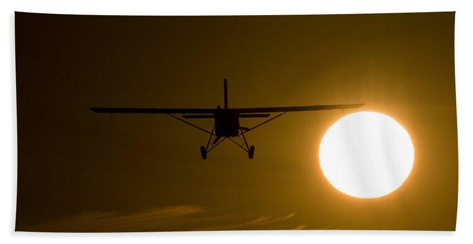 Silhouette Bath Sheet featuring the photograph Big Sun Silhouette by Paul Job