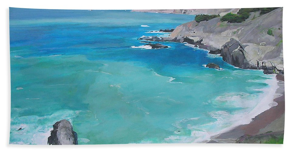 Seascape Bath Sheet featuring the painting Big Sur by Peter Forbes