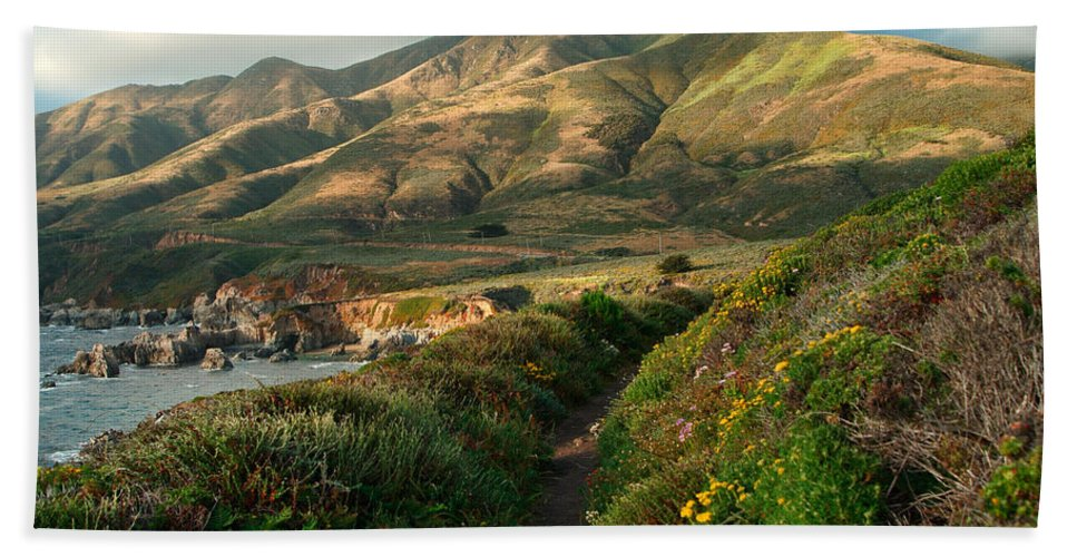Landscape Bath Sheet featuring the photograph Big Sur Trail At Soberanes Point by Charlene Mitchell