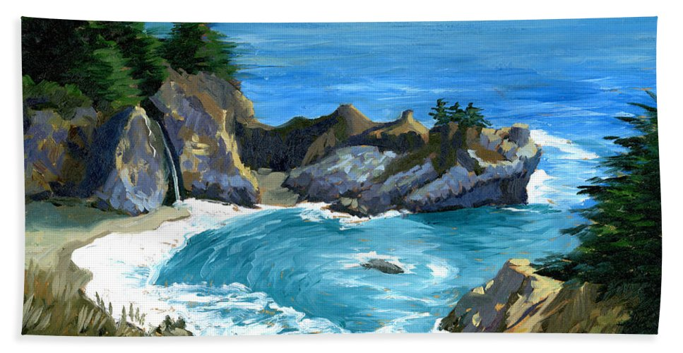 Seascape Bath Sheet featuring the painting Big Sur Waterfall by Alice Leggett