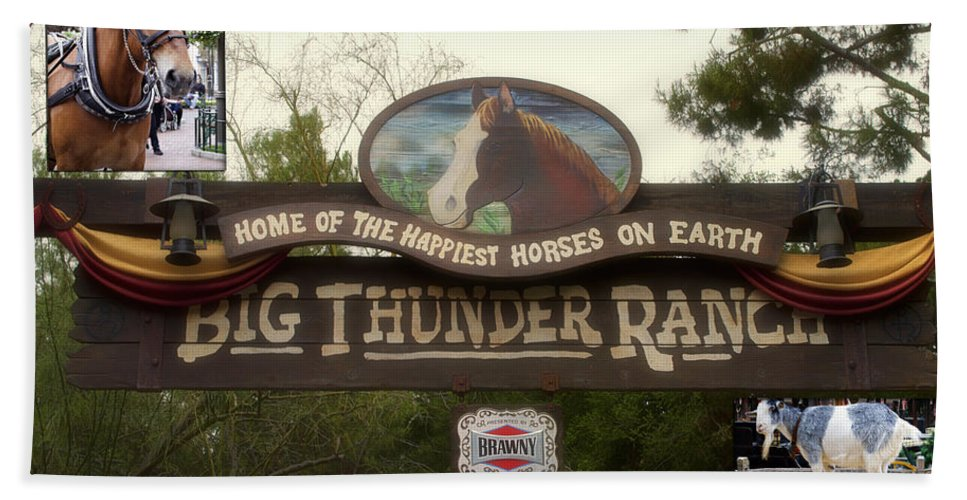 Disney Hand Towel featuring the photograph Big Thunder Ranch Signage Frontierland Disneyland by Thomas Woolworth