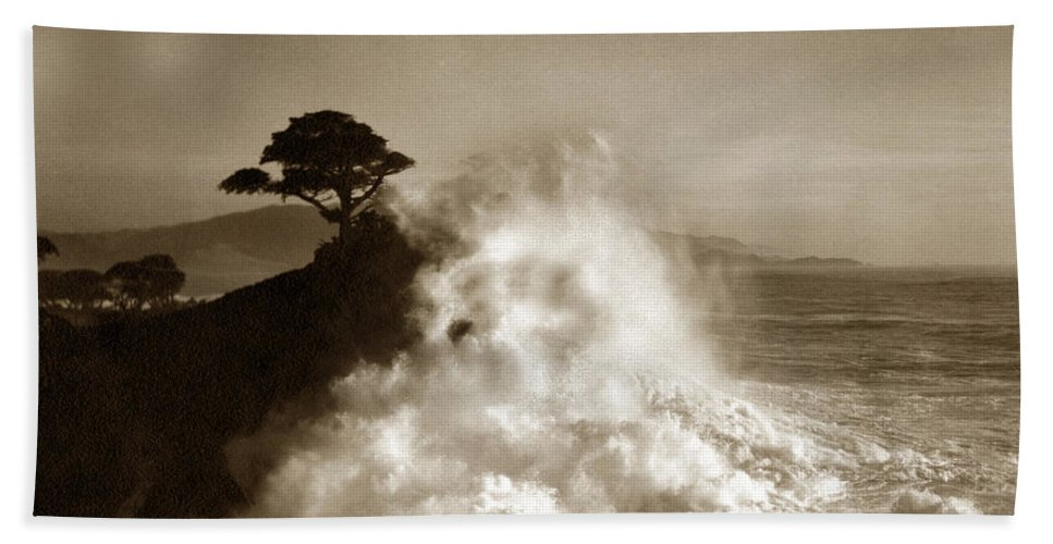 Big Wave Bath Towel featuring the photograph Big Wave Hitting The Lone Cypress Tree Pebble Beach California 1916 by California Views Archives Mr Pat Hathaway Archives