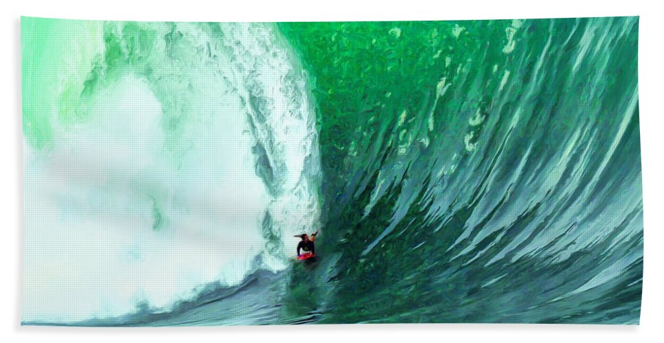 The Wedge Bath Sheet featuring the painting Big Wednesday At The Wedge by Dominic Piperata