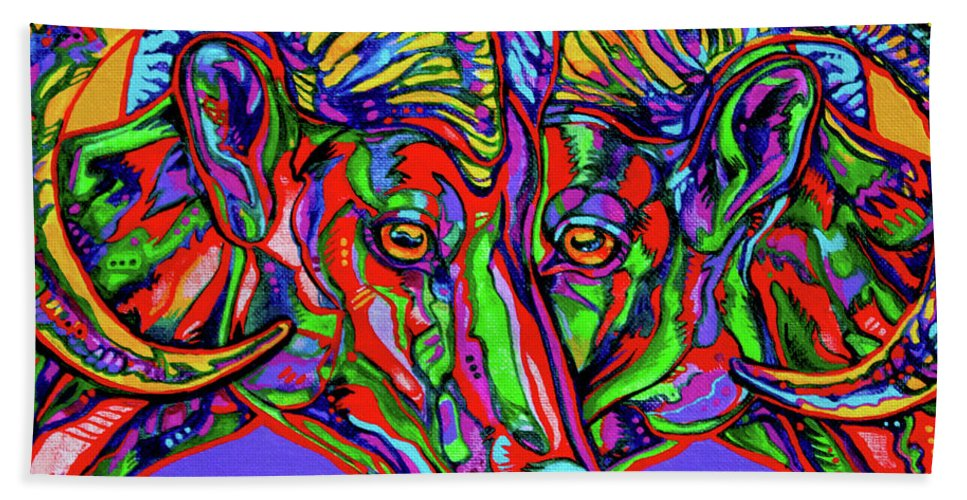 Contemporary Art Hand Towel featuring the painting Bighorn Sheep by Derrick Higgins