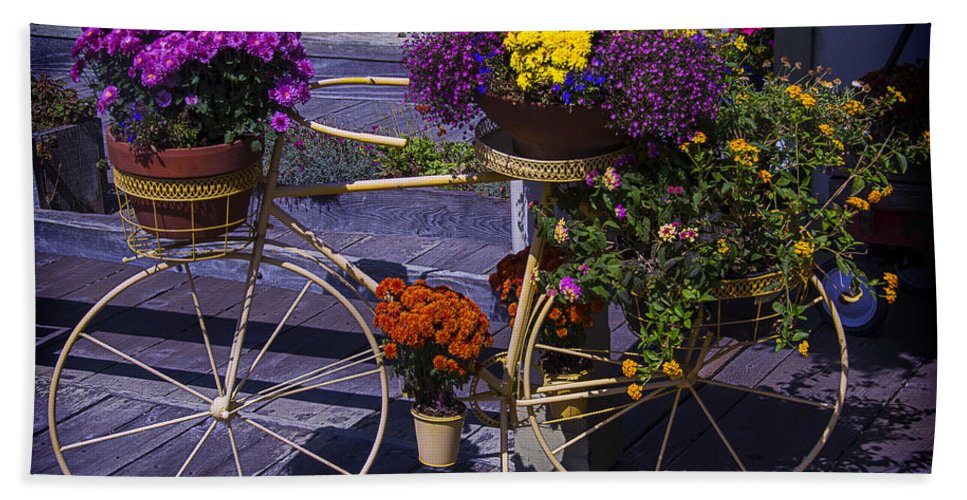 Bike Bath Sheet featuring the photograph Bike Planter by Garry Gay