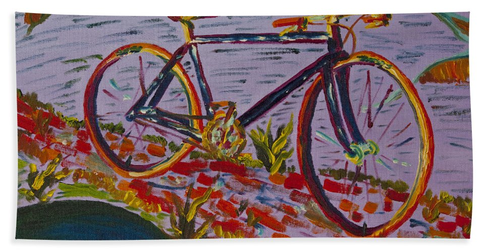 Bike Hand Towel featuring the painting Bike Study by Greg Wells