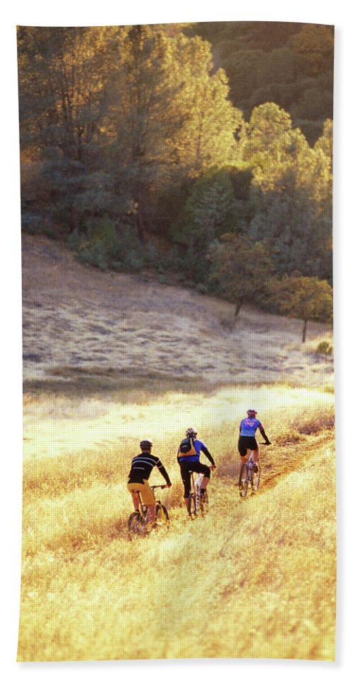 Action Hand Towel featuring the photograph Bikers On Foresthill Divide Trail by Scott Markewitz