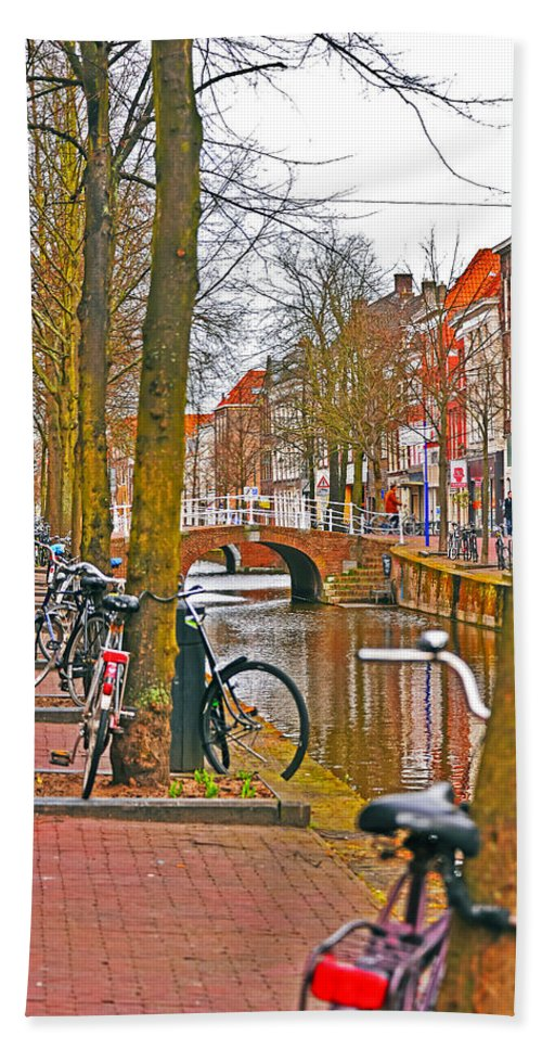 Travel Bath Towel featuring the photograph Bikes And Canals by Elvis Vaughn