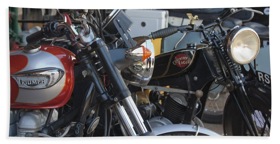 Motorcycle Bath Sheet featuring the photograph Old Motorbikes by Terri Waters
