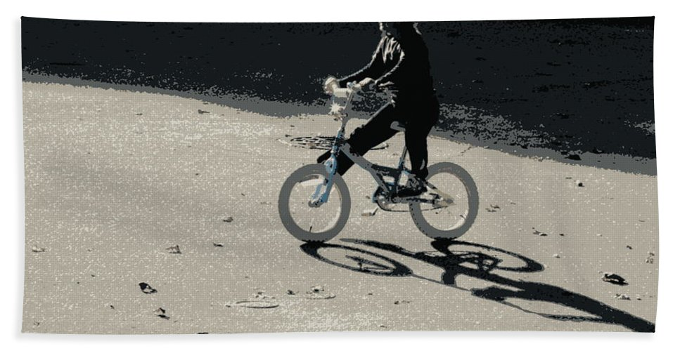 Biking Hand Towel featuring the photograph Bikin' by Lainie Wrightson