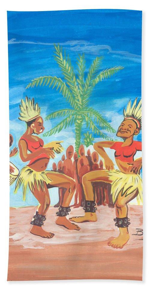 African Art Hand Towel featuring the painting Bikutsi Dance 3 From Cameroon by Emmanuel Baliyanga