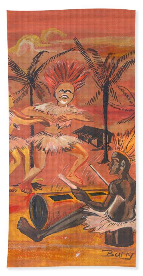 Barry Art Hand Towel featuring the painting Bikutsi Dance From Cameroon by Emmanuel Baliyanga