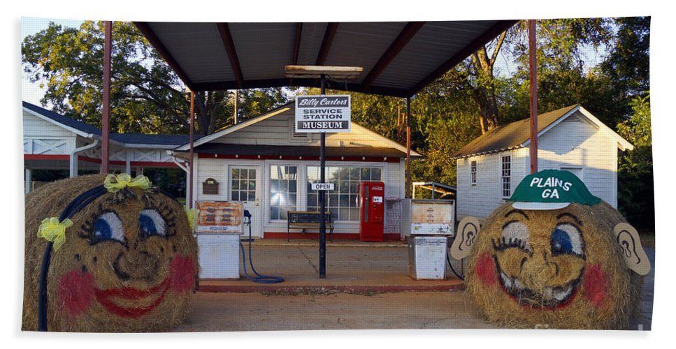 Billy Carters Old Service Station In Plains Georgia Hand Towel featuring the digital art Billy Carters Old Service Station In Plains Georgia by Kim Pate