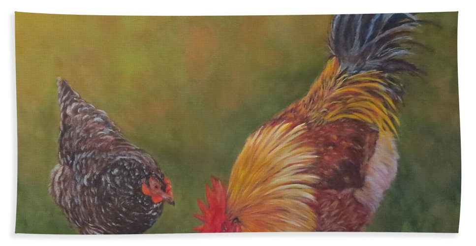 Rooster Hand Towel featuring the painting Biltmore Chickens by Sandra Reeves