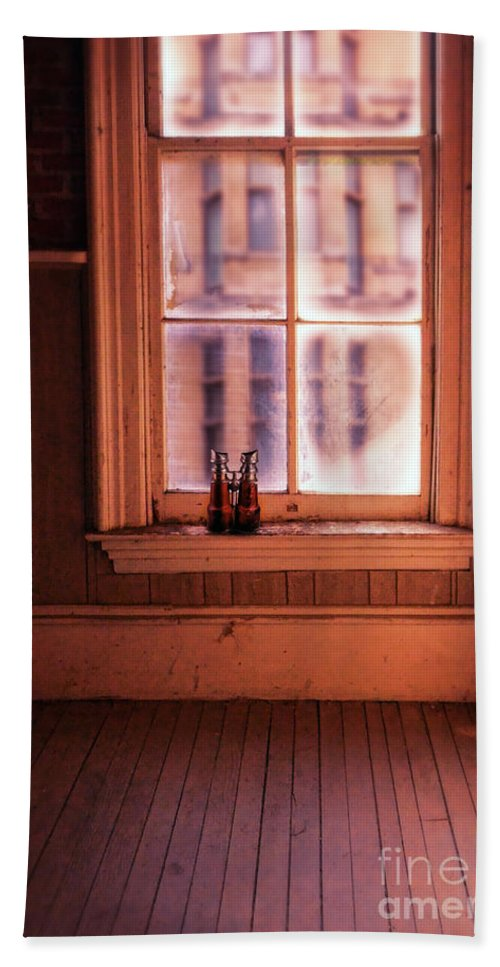 Binoculars Hand Towel featuring the photograph Binoculars On Windowsill by Jill Battaglia