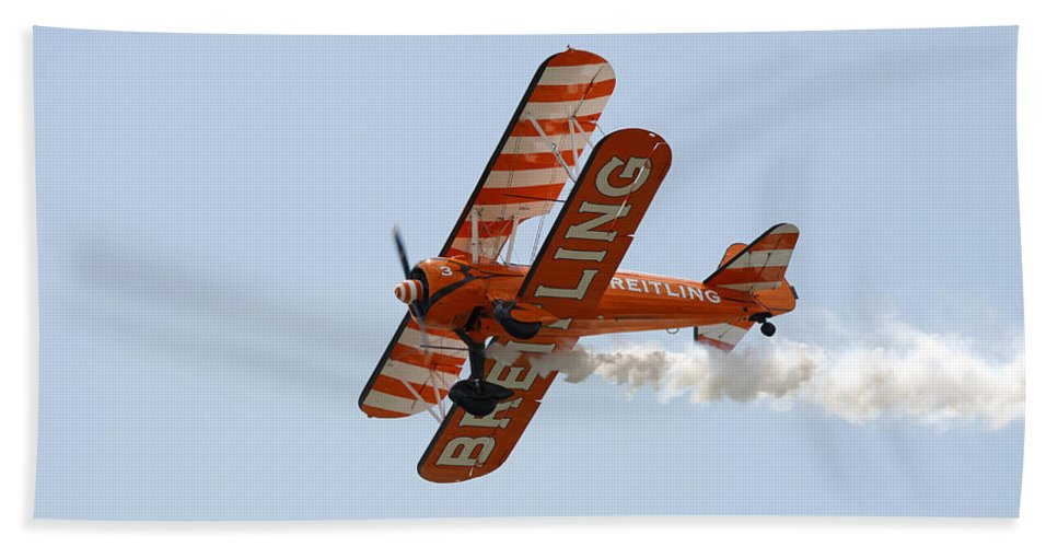 Aerobatics Hand Towel featuring the photograph Biplane by Steve Ball