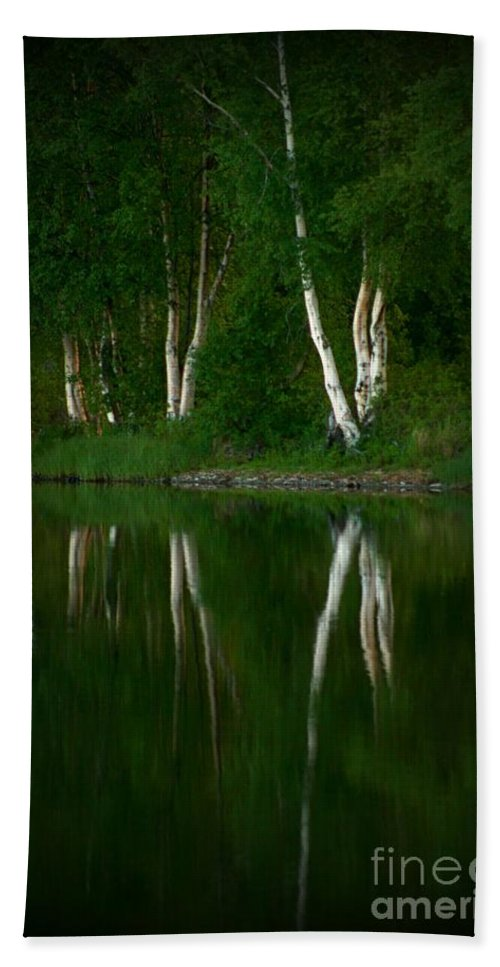 Birch Bath Towel featuring the photograph Birch Reflection by Rick Monyahan