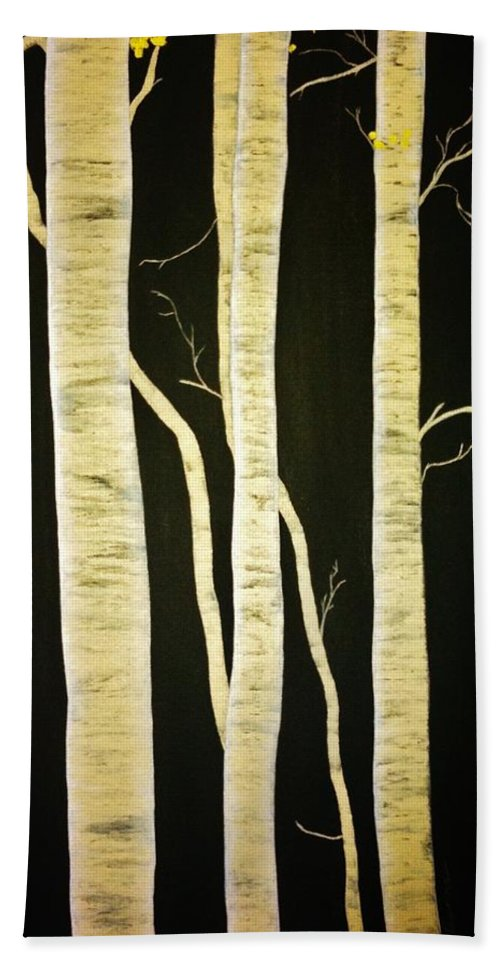 Birch Hand Towel featuring the painting Birch Trees by Marina Hanson