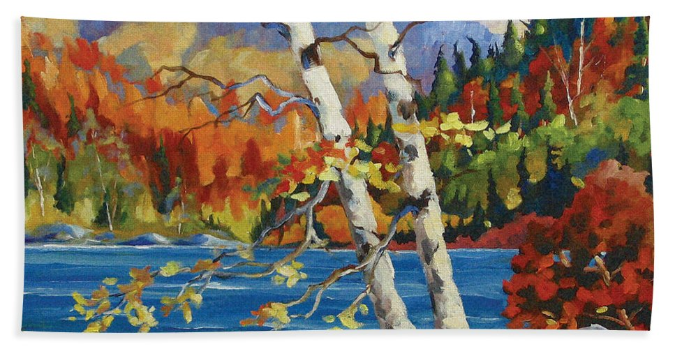 Art Hand Towel featuring the painting Birches By The Lake by Richard T Pranke
